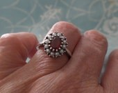 Vintage Mozambique GARNET Seed Pearl Sterling Silver Georgian Style Ring Engagement Wedding Ring Size