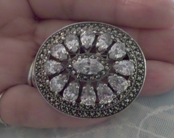 Vintage Marcasite CZ Brooch Pin Sash Pin Sterling Silver .925 Wedding Brooch