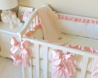 Luxury Crib Bedding, Dupioni Silk Bows, Cream Crib Bedding, Simple Baby Bedding, Beautiful Baby Bedding, Dupioni Silk Bedding