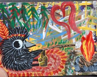 Bird Art Aceo, Baby Crow Painting, Original Acrylic, Roasting Marshmallows