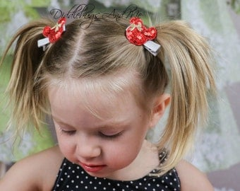 Red Mouse Hair Clips, Piggy Tail Hair Clips, Mouse Hair Clips, Girls Hair Clips, Toddler Hair Clips, Piggy Tail Hair Clips, Party Favors