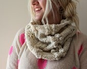 Cowl Scarf, Womens Gift, Chunky Cowl, Ivory, Hand Knit Cowl, Cable Knit Cowl, Winter Scarf, Gift for her, Infinity Scarf