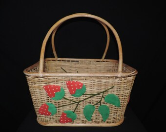 vintage strawberry picnic basket wicker fruit open shopper berry picking basket