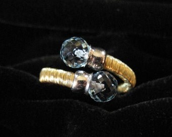 Ross Simons 18K over Sterling Silver ByPass Ring, Pale Blue Stones, Size 6