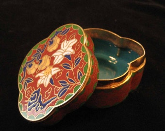 Red Chinese Cloissonne Enamel on Brass Box