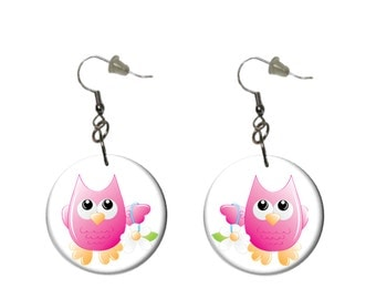 Pink Owl Earrings  Dangle Earrings Fun Casual Earrings