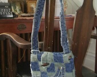 Recycled denim jean handmade purse