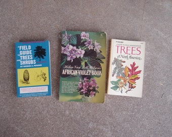 Vintage Book Field Guide Trees Shrubs North America African Violet Golden Audubon Society Nature Plant Care