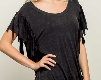 SALE- Eco Friendly Sand & Salt distressed black fringe top- Boho chic- Reg. 58.00