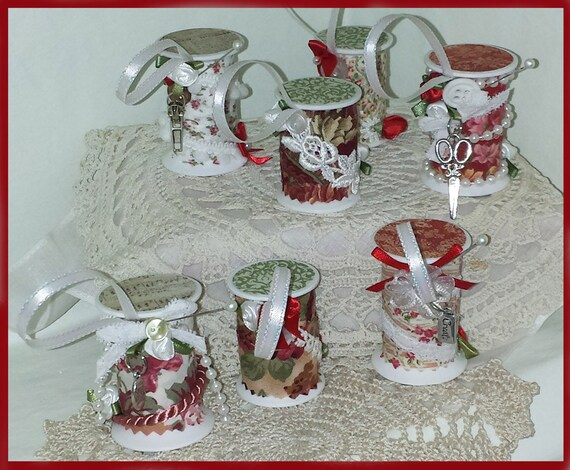 7 Vintage, Victorian Style Floral Prints Spool Christmas Ornaments - Free Shipping