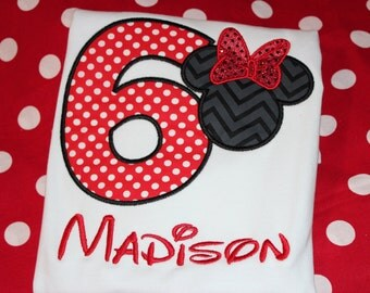 Minnie 6th birthday shirt - baby bodysuit, tshirt, or dress- you pick colors- any number