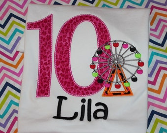 10th birthday Boardwalk or theme park Ferris wheel birthday shirt - baby bodysuit, tshirt, or dress- any number