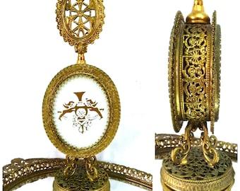 Antique Perfume Bottle Ornate Gold Filigree Ormolu White Opaline Art Deco Cherubs Angels