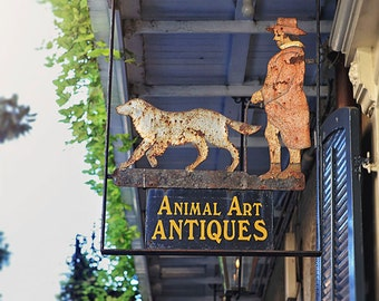 New Orleans Photography Print, French Quarter Animal Art Antiques Sign Picture, Louisiana Decor, New Orleans Art, New Orleans Wall Art