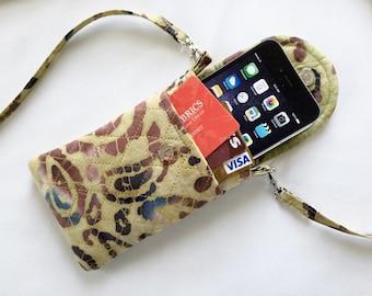 Iphone 6 Plus Smart Phone Gadget Case Detachable Neck Strap Quilted Batik Brown Black Beige Paisley