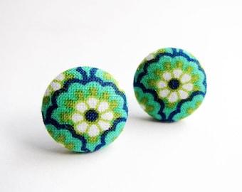 Clip On Earrings / Stud Earrings / Fabric Button Earrings - green and blue floral earrings