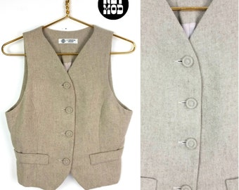 Gray Tan Wool Style Vintage 60s 70s Preppy Vest!