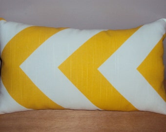 FREE SHIPPING 15x8 Bright Yellow and White Cotton Chevron Zig Zag Lumbar Pillow
