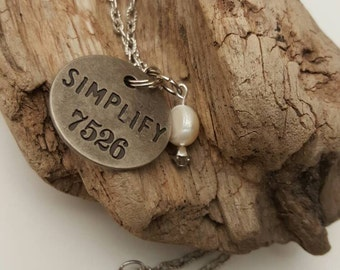 Simplify Charm Necklace - Metal - Stamped - 24in. Long  Chain- Unique Gift - Trendy - Silver- Fall Jewelry - Boho Glam - Steampunk