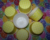 Treat/Portion Cups, Sunny Yellow/white Polka Dot, Party Cups, Cupcake Baking 24 Polka Dots Treat Cups