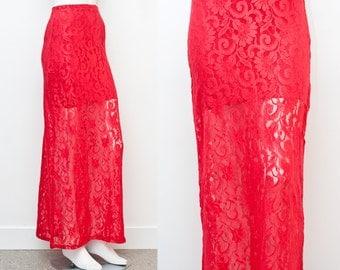 SALE Red Lace High Waist Sheer Maxi Skirt