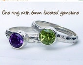 ON SALE One Birthstone Stacking Ring w/ 6mm Faceted Gemstone - Stackable Rings -  Mothers Ring -  Family Ring -  Stackable Rings - Sterling