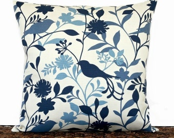 Birds Pillow Cover Cushion Blue Navy Slate Ivory Floral Decorative 18x18