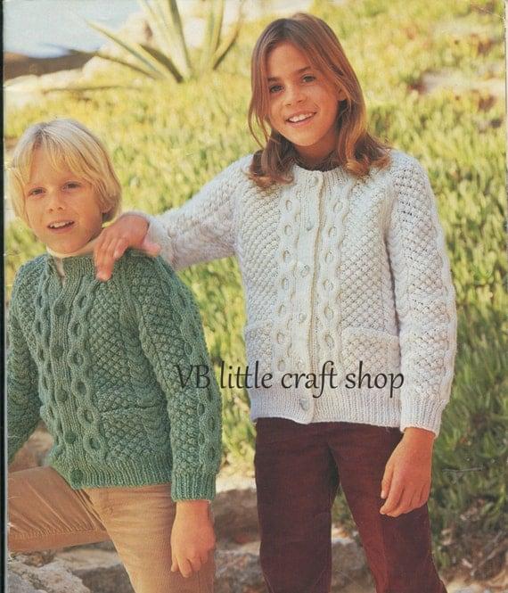 Childrens aran cardigans knitting pattern. Instant PDF