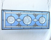 Stained Glass Window Panel, Depression Glass Window Valance, Vintage EAPG Oatmeal Coasters Stained Glass Transom Window, OOAK Antique Window