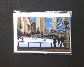 Millennium Park Chicago Skating Rink Painting Blank Holiday Card