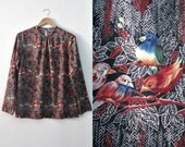 RESERVED          Vintage 70s Bird and Branches blouse / Boho Secretary 70s bird print blouse