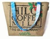 MTO. Custom. Hilo Tote Handbag. Repurposed Hilo Coffee Mill Bag. Large Burlap Tote. Handmade in Hawaii.