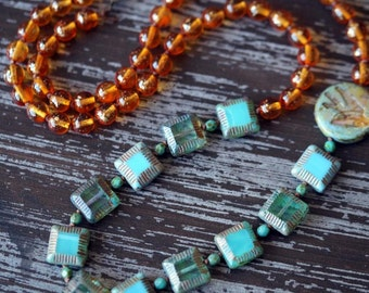 Turquoise and Amber Necklace - Boho Necklace - Long Beaded Necklace - Sparrow Necklace - Bead Soup Jewelry