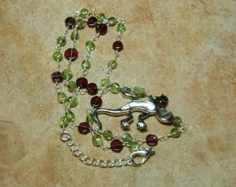 Natural Peridot and Garnet Gemstones, 925 Silver Chain Necklace
