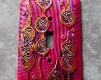 Modern Fuchsia, switch plate cover, abstract, polymer clay, dark pink, gold accents, one of a kind