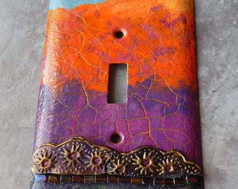 Autumn Sunset, abstract, mixed media, switch plate cover, light switch cover, toggle switch plate, orange, violet, green and blue,