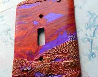 Molten, switch plate cover, polymer clay, red, dark pinks, orange, purple, one of a kind, abstract design