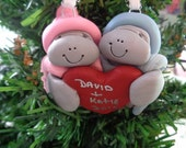 Special order for Fairygalmaine -Clay Hugging Manatees with Big Red Heart - ornament