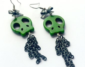 Green Stone Skulls and Antique Silver Bows with Chain Fringe Dangle Earrings
