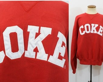 Coke Sweatshirt Coca Cola Pullover 90s Crewneck Red White Embroidered Vintage 1990s Slouchy Baggy Unisex American Soda Medium M