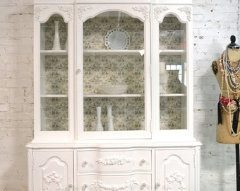Painted Cottage Chic Shabby White Romantic French China Cabinet CC675