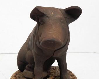 Vintage Cast Iron Pig Piggy Bank Coin Bank Door Stop Farmhouse