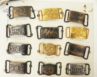 12 Vintage Metal Belt Buckles Crown Emblem Eagle Sample Stock