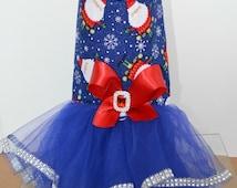 Dog Tutu Harness Dress - Santa Christmas with Bling Upgrade