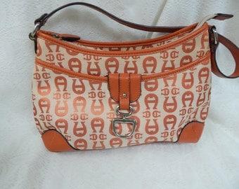Etienne Aigner Canvas and Leather Handbag Shoulder Bag  Orange