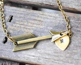 Heart and Arrow Necklace - Handstamped Initial Necklace - Personalized Jewelry, Monogrammed
