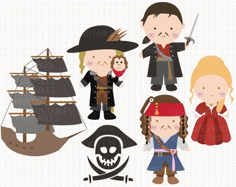 Film Inspired Pirates of the Caribbean Digital CLIP ARTS personal and commercial use for invitations, cupcake toppers, party supplies