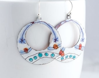 Whimsical Dot Stripe Enamel Hoop Earrings - OOAK