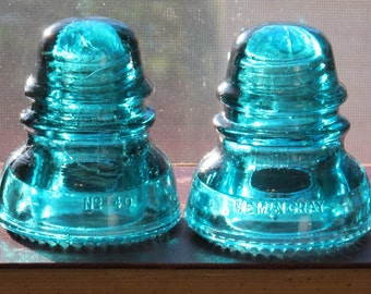 Hemingray Teal Blue Glass Insulators Wood Bookends / Vintage Aqua Glass Turquoise Windowsill Sun Catcher Industrial Decor Cottage Chic