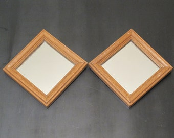 Vintage Wall Mirrors Set of 2 / Pair of Small Square Mirrors in Distressed Wood Frame, Rustic Shabby Farmhouse Primitive Country Chic Modern